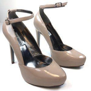 STEVE MADDEN Saida Nude Patent Leather Heels - 7.5